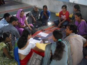 New Team Balika recruits learning about Educate Girls