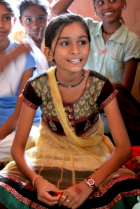 Anjali learning at school in Rajasthan.