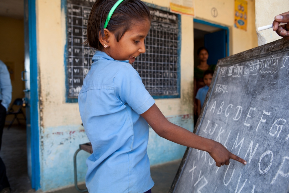 An Educate Girls beneficiary learning at school.